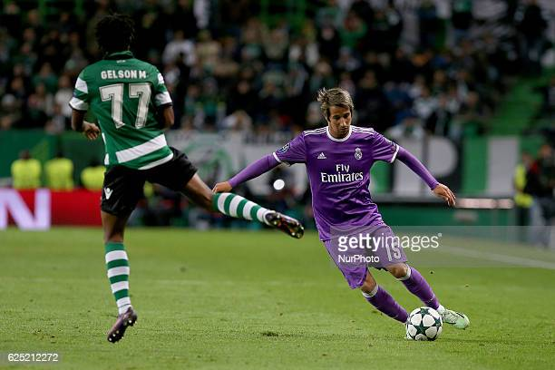 Real Madrids defender Fabio Coentrao from Portugal and Sportings forward Gelson Martins from Portugal in action during the UEFA Champions League...