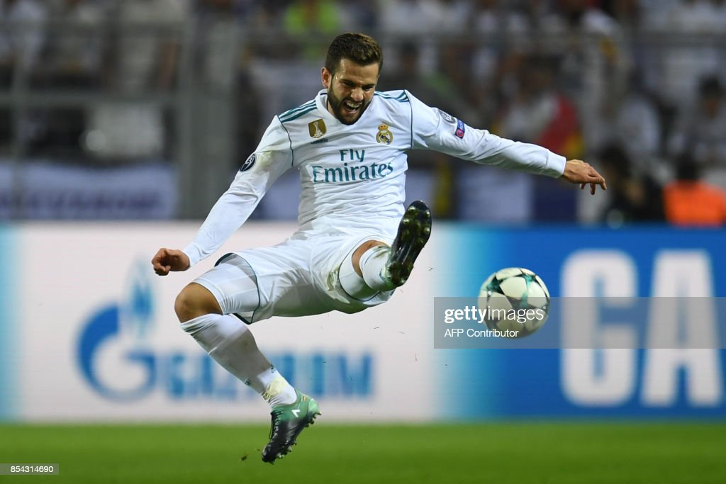 Real Madrid's defender from Spain Nacho Fernandez plays the ball during the UEFA Champions League Group H football match BVB Borussia Dortmund v Real Madrid in Dortmund, western Germany on September 26, 2017. / AFP PHOTO / Patrik STOLLARZ