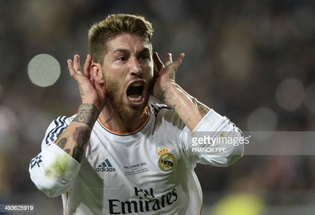 Real Madrid's defender Sergio Ramos celebrates after scoring during the UEFA Champions League Final Real Madrid vs Atletico de Madrid at Luz stadium...