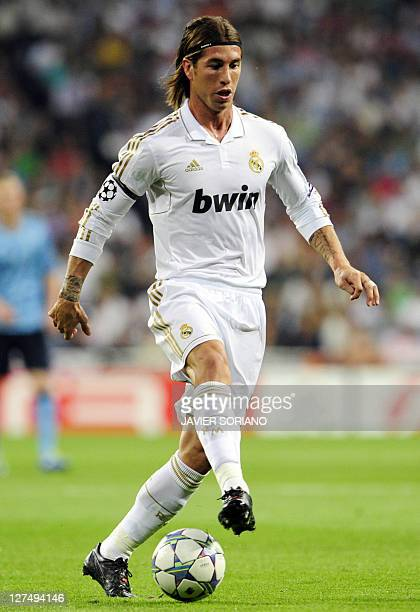 Real Madrid's defender Sergio Ramos controls the ball during the Champions League football match between Real Madrid and Ajax at the Santiago...