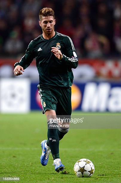 Real Madrid's defender Sergio Ramos controls the ball during the UEFA Champions League Group D football match Ajax Amsterdam vs Real Madrid on...
