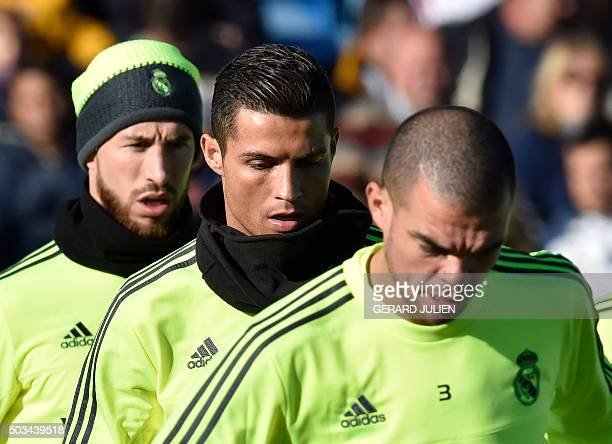 Real Madrid's defender Sergio Ramos Real Madrid's Portuguese forward Cristiano Ronaldo and Real Madrid's Portuguese defender Pepe take part in the...