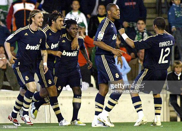 Real Madrid's Drenthe celebrates after scoring against Betis during a Spanish league football match at the Ruiz de Lopera stadium in Sevilla on...
