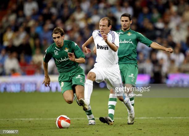 Real Madrid's Dutch Arjen Robben fights for a ball during the La Liga match between Real Madrid and Real Betis at the Santiago Bernabeu stadium on...