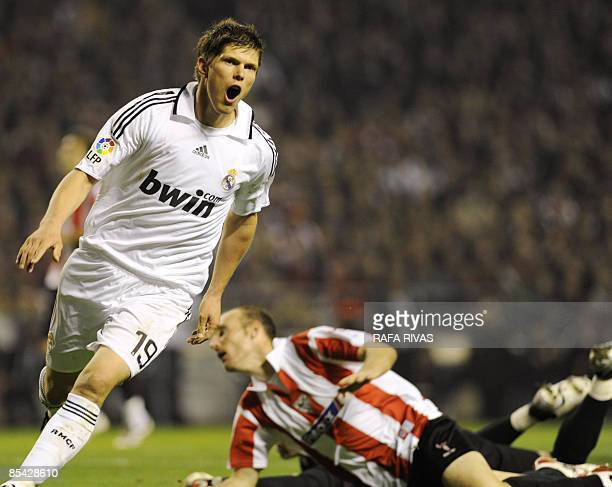 Real Madrid's Dutch KlassJan Huntelaar celebrates his goal against Athletic Bilbao during their Spanish league football match on March 14 at San...