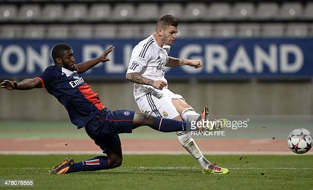 Real Madrid's forward Agoney Gonzalez passes the ball during the UEFA Youth League quarterfinal football match between PSG and Real Madrid at the...