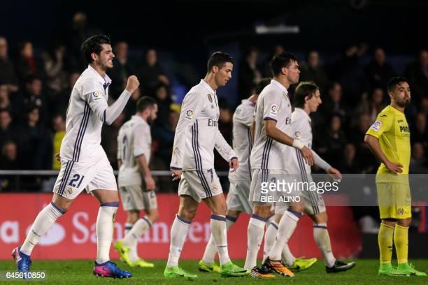 Real Madrid's forward Alvaro Morata celebrates after scoring a goal during the Spanish League football match Villarreal CF vs Real Madrid at El...