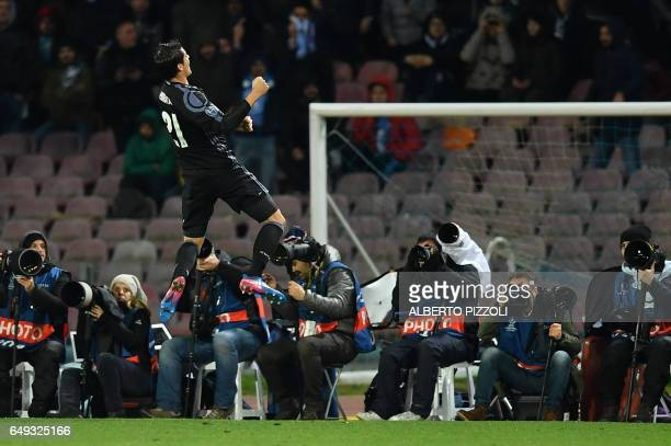 Real Madrid's forward Alvaro Morata celebrates after scoring during the UEFA Champions League football match SSC Napoli vs Real Madrid on March 7...