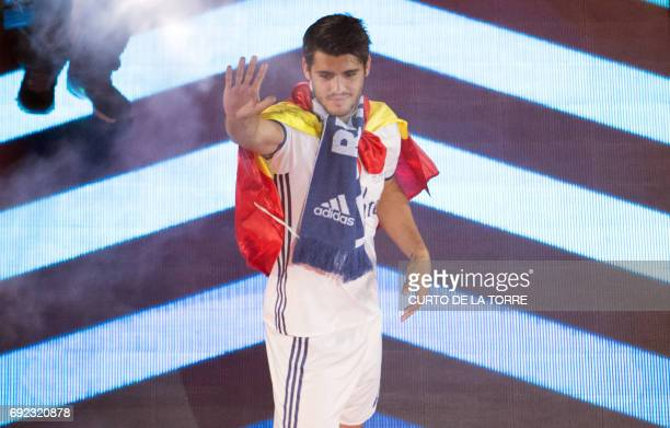 Real Madrid's forward Alvaro Morata celebrates the team's win at the Santiago Bernabeu stadium in Madrid on June 4 2017 after winning the UEFA...