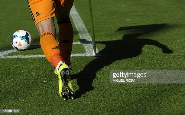 Real Madrid's forward Alvaro Morata kicks a corner shot during the Spanish league football match RC Celta de Vigo vs Real Madrid CF at the Balaidos...