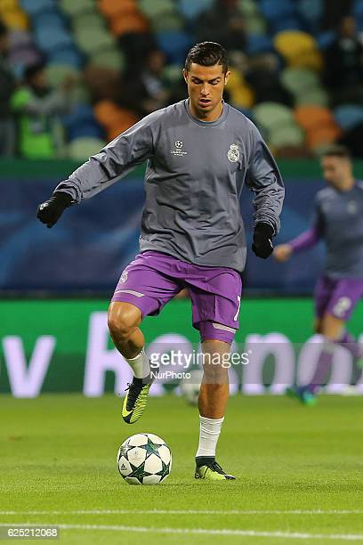 Real Madrids forward Cristiano Ronaldo from Portugal during warm up in the UEFA Champions League match between Sporting Clube de Portugal and Real...