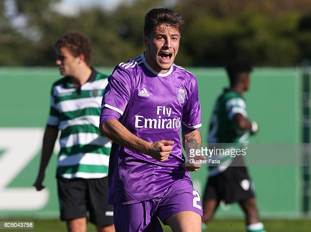 Real Madrid's forward Franchu celebrates after scoring a goal during the UEFA Youth Champions League match between Sporting Clube de Portugal and...
