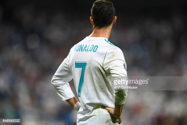 TOPSHOT Real Madrid's forward from Portugal Cristiano Ronaldo looks on after the UEFA Champions League football match Real Madrid CF vs APOEL FC at...