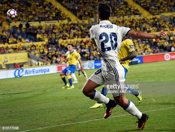 Real Madrid's forward Marco Asensio Willemsen kicks the ball during the Spanish league football match UD Las Palmas vs Real Madrid CF at the Gran...