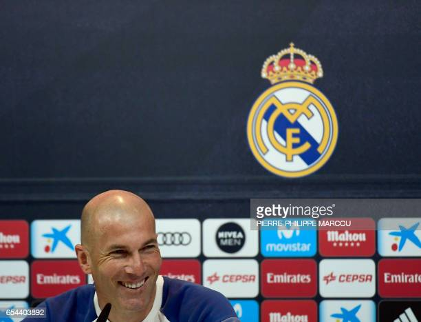 Real Madrid's French coach Zinedine Zidane attends a press conference after a training session at Valdebebas Sport City in Madrid on March 17 2017 on...