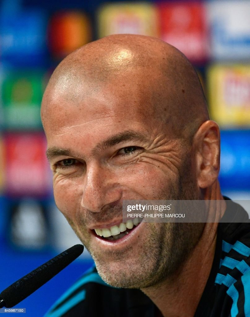 Real Madrid's French coach Zinedine Zidane attends a press conference at the Valdebebas Sport City, in Madrid, on September 12, 2017 on the eve of the UEFA Champions League Group H football match Real Madrid CF vs Apoel FC. MARCOU