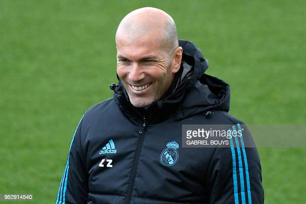Real Madrid's French coach Zinedine Zidane attends a training session at the Valdebebas training ground in Madrid on April 30 2018 on the eve of the...