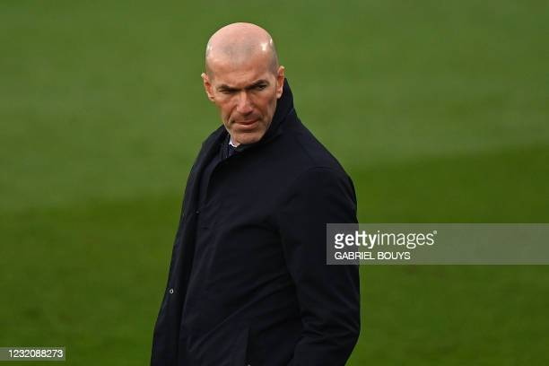 Real Madrid's French coach Zinedine Zidane attends the Spanish League football match between Real Madrid CF and SD Eibar at the Alfredo di Stefano...
