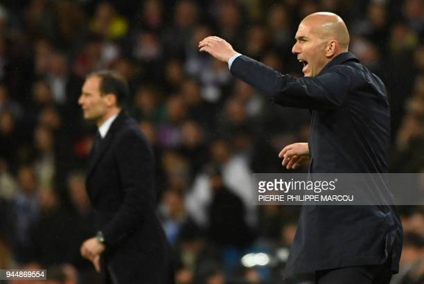 Real Madrid's French coach Zinedine Zidane gestures beside Juventus' Italian coach Massimiliano Allegri during the UEFA Champions League quarterfinal...