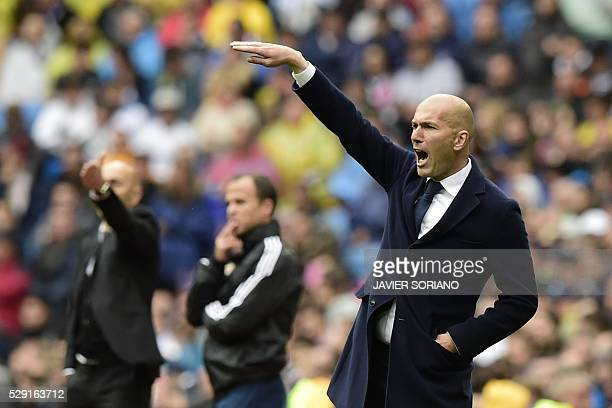 Real Madrid's French coach Zinedine Zidane gestures during the Spanish league football match Real Madrid CF vs Valencia CF at the Santiago Bernabeu...