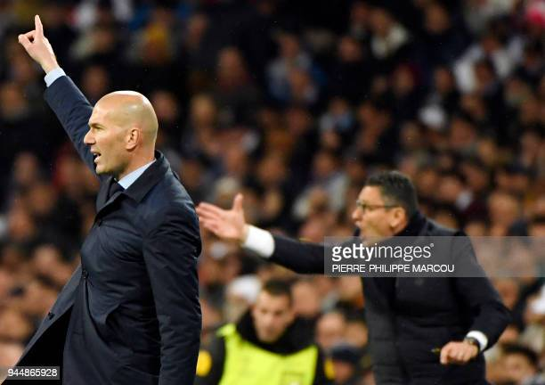 Real Madrid's French coach Zinedine Zidane gestures during the UEFA Champions League quarterfinal second leg football match between Real Madrid CF...