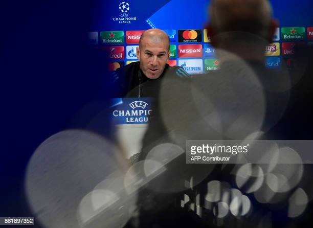 Real Madrid's French coach Zinedine Zidane gives a press conference after a training session at Valdebebas Sport City in Madrid on October 16 2017 on...