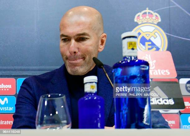 TOPSHOT Real Madrid's French coach Zinedine Zidane gives a press conference to announce his resignation in Madrid on May 31 2018 Real Madrid coach...