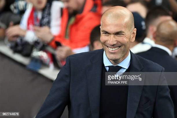 Real Madrid's French coach Zinedine Zidane looks on prior to the UEFA Champions League final football match between Liverpool and Real Madrid at the...