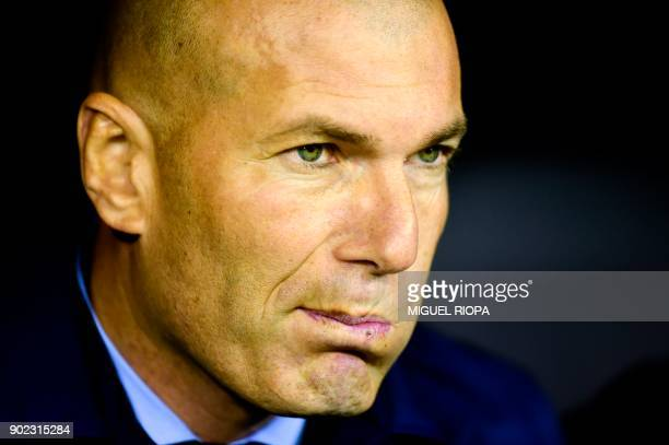Real Madrid's French coach Zinedine Zidane reacts during the Spanish league football match Celta de Vigo vs Real Madrid at the Balaidos stadium in...