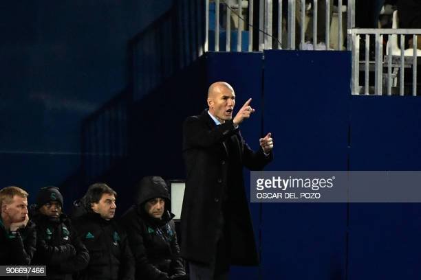 Real Madrid's French coach Zinedine Zidane reacts during the Spanish 'Copa del Rey' football match between Leganes and Real Madrid at the Estadio...