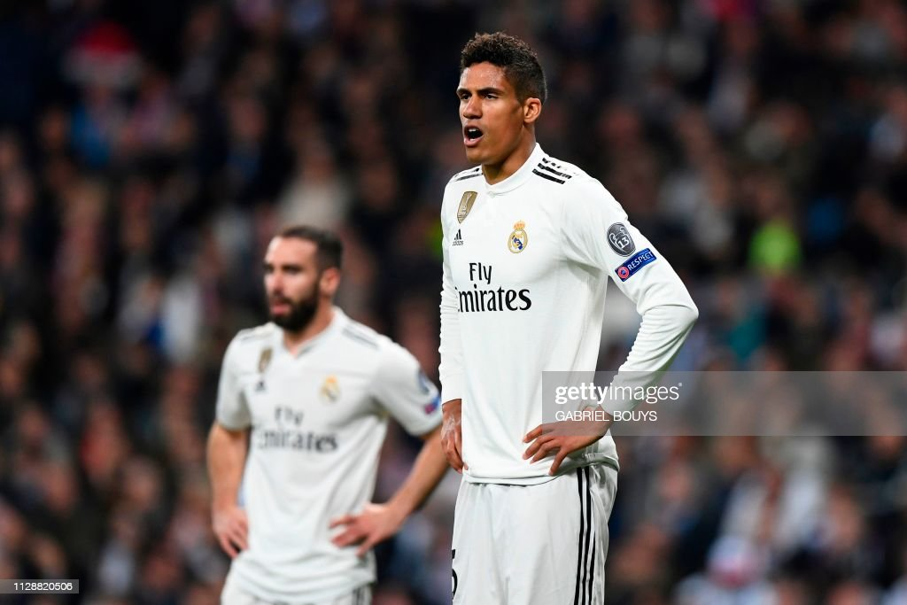 548179f066b Real Madrid s French defender Raphael Varane reacts during the UEFA ...