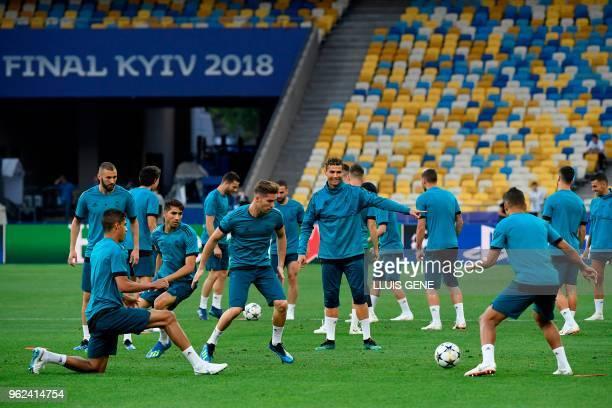 Real Madrid's French defender Raphael Varane Real Madrid's French forward Karim Benzema Real Madrid's Spanishborn Moroccan defender Achraf Hakimi...