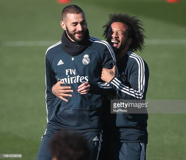 Real Madrid's French forward Karim Benzema and brazilian defender Marcelo during last training session before the match of Liga Spanish against Eibar...