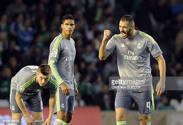 Real Madrid's French forward Karim Benzema celebrates a goal during the Spanish league football match Real Betis Balompie vs Real Madrid CF at the...
