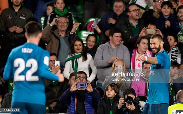Real Madrid's French forward Karim Benzema celebrates a goal during the Spanish Liga football match Real Betis vs Real Madrid at the Benito...