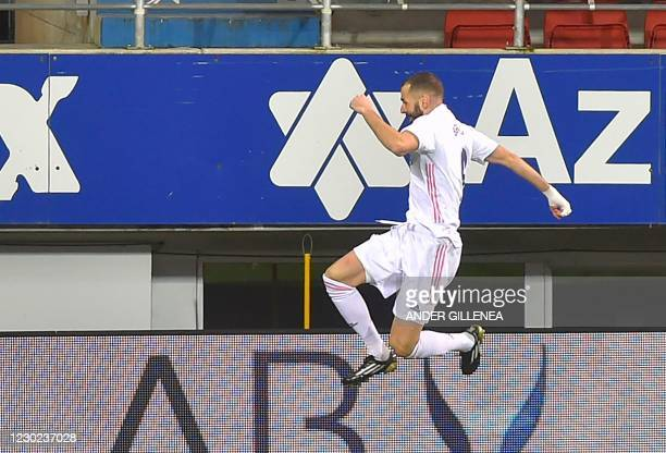 Real Madrid's French forward Karim Benzema celebrates after scoring a goal during the Spanish league football match between SD Eibar and Real Madrid...