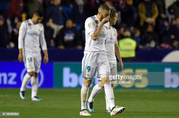 Real Madrid's French forward Karim Benzema gestures during the Spanish league football match between Levante UD and Real Madrid CF at the Ciutat de...