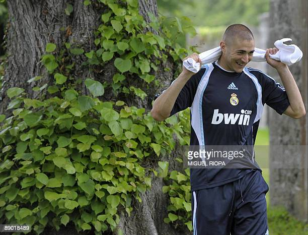 Real Madrid's French striker Karim Benzema takes part to their first training session on July 14 2009 at the Carton House Hotel in Maynooth 22 km...