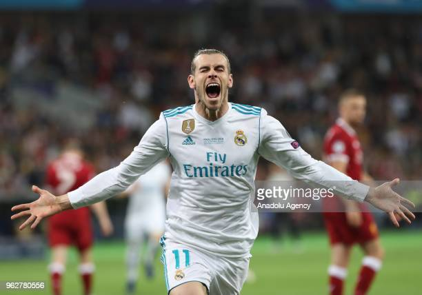 Real Madrid's Gareth Bale celebrates after scoring a goal during the UEFA Champions League final football match between Real Madrid and Liverpool FC...