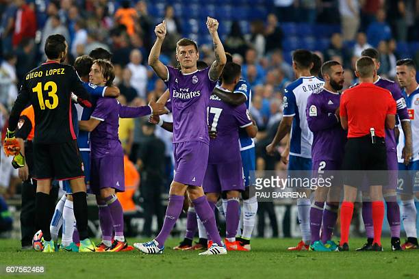 Real Madrid's German midfielder Toni Kroos acknowledges the crowd at the end of the Spanish league football match RCD Espanyol vs Real Madrid CF...