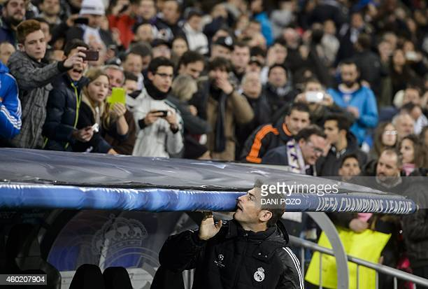Real Madrid's goalkeeper and captain Iker Casillas looks at supporters before the UEFA Champions League Group B football match Real Madrid CF vs PFC...