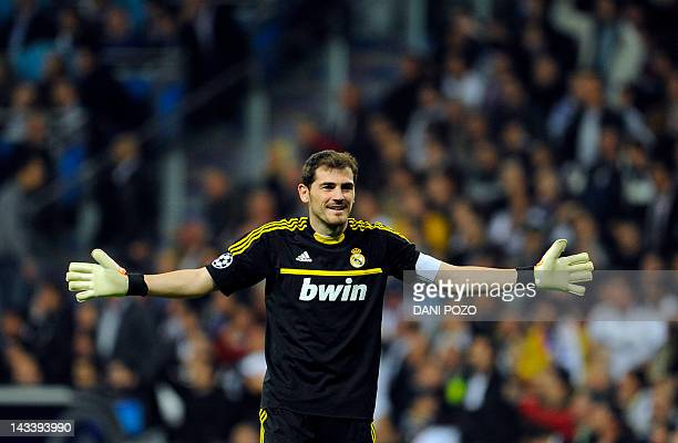 Real Madrid's goalkeeper and captain Iker Casillas reacts during the UEFA Champions League second leg semifinal football match Real Madrid against...
