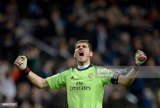 Real Madrid's goalkeeper and captain Iker Casillas shouts after third goal during the Spanish Copa del Rey semifinal firstleg football match Real...