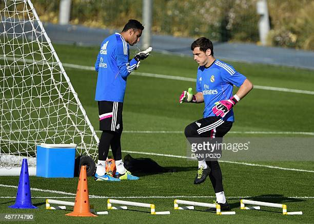 Real Madrid's goalkeeper and captain Iker Casillas takes part in a training session on the eve of the Spanish clasico football match Real Madrid vs...