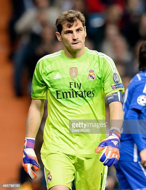 Real Madrid's goalkeeper and captain Iker Casillas walks during the round of 16 second leg UEFA Champions League football match Real Madrid CF vs FC...