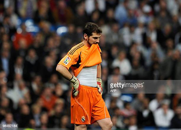 Real Madrid's goalkeeper Iker Casillas gestures during the 'El Clasico' Spanish League football match Real Madrid against Barcelona at the Santiago...
