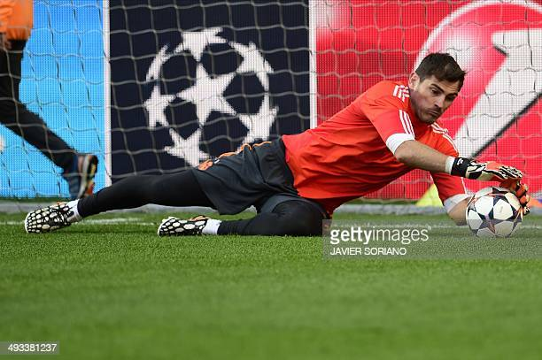 Real Madrid's goalkeeper Iker Casillas takes part in a training session on the eve of the UEFA Champions League final between Atletico Madrid and...