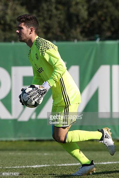 Real MadridÕs goalkeeper Luca Zidane in action during the UEFA Youth Champions League match between Sporting Clube de Portugal and Real Madrid CF at...