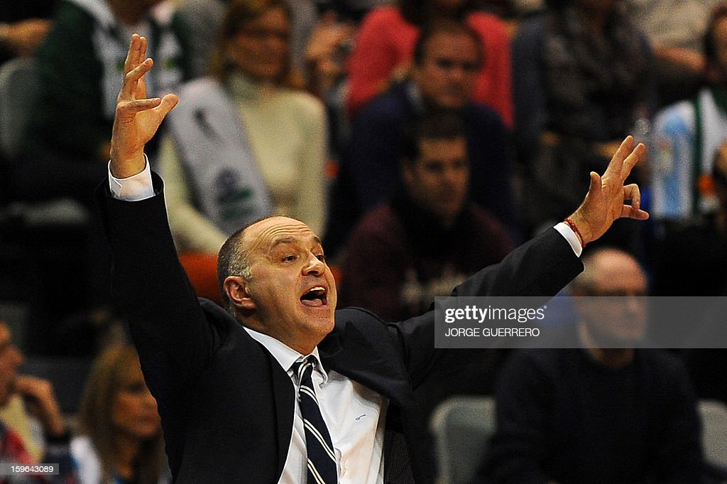 Real Madrid's head coach Kestutis Kemzura reacts during the Euroleague basketball match Unicaja vs Real Madrid at the Palacio de los deportes J.M. Martin Carpena sports hall in Malaga on January 17, 2013.