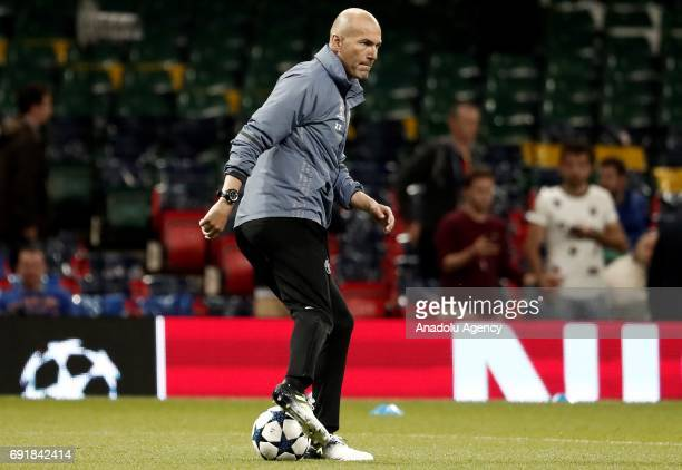 Real Madrid's head coach Zinedine Zidane attends a training session ahead of the UEFA Champions League final football match between Juventus and Real...